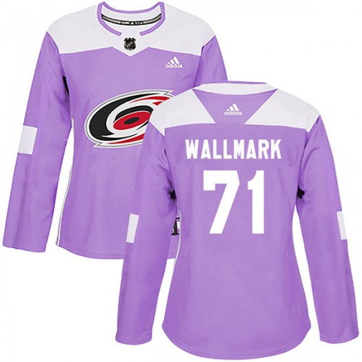 Lucas Wallmark Carolina Hurricanes Women's Adidas Authentic Purple Fights Cancer Practice Jersey