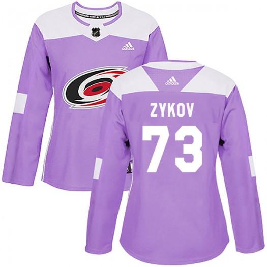 Valentin Zykov Carolina Hurricanes Women's Adidas Authentic Purple Fights Cancer Practice Jersey