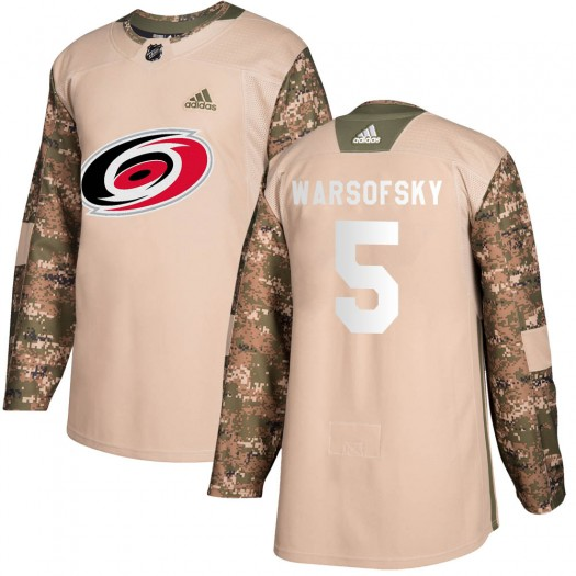 David Warsofsky Carolina Hurricanes Men's Adidas Authentic Camo Veterans Day Practice Jersey