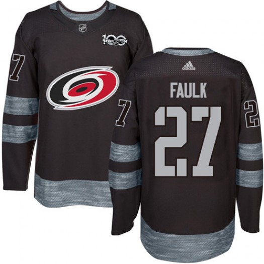 Justin Faulk Carolina Hurricanes Men's Adidas Authentic Black 1917-2017 100th Anniversary Jersey