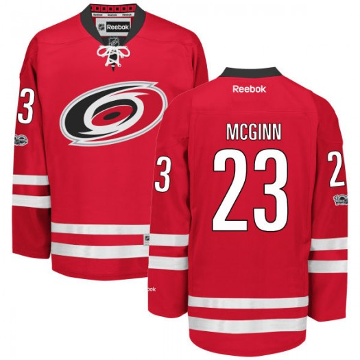 Brock Mcginn Carolina Hurricanes Men's Reebok Authentic Red Home Centennial Patch Jersey