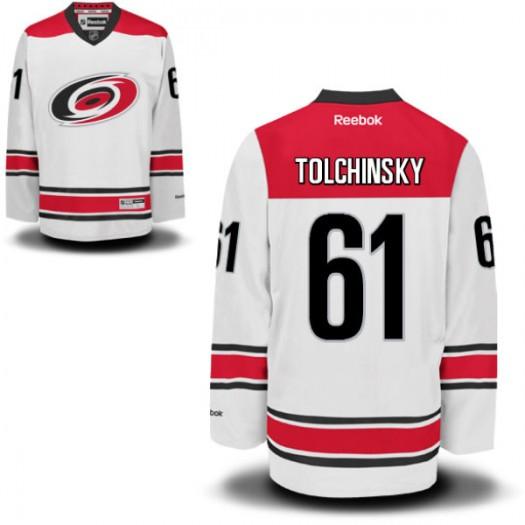 Sergei Tolchinsky Carolina Hurricanes Youth Reebok Replica White New Away Jersey