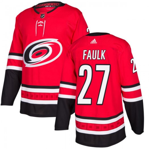 Justin Faulk Carolina Hurricanes Men's Adidas Authentic Red Jersey