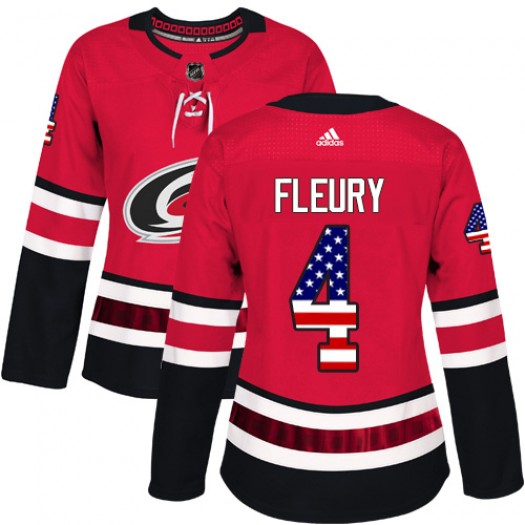 Haydn Fleury Carolina Hurricanes Women's Adidas Authentic Red USA Flag Fashion Jersey