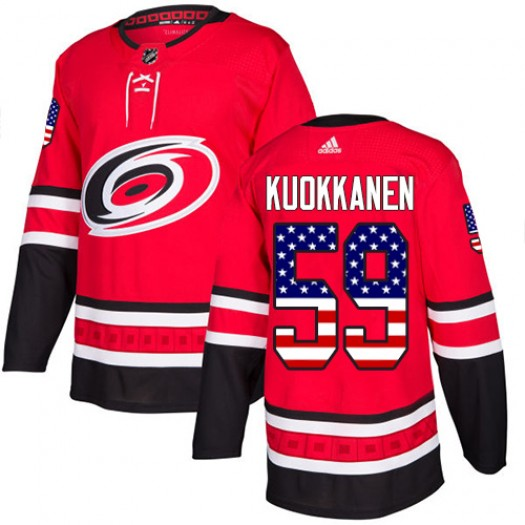 Janne Kuokkanen Carolina Hurricanes Men's Adidas Authentic Red USA Flag Fashion Jersey