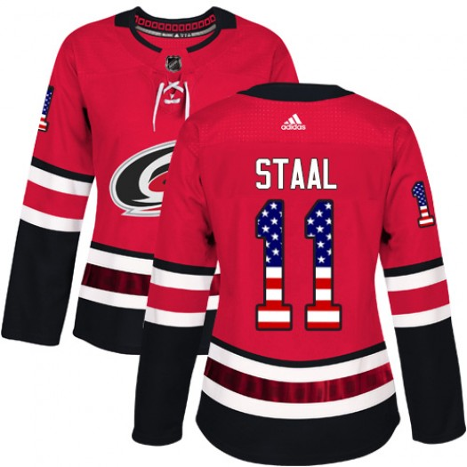 Jordan Staal Carolina Hurricanes Women's Adidas Authentic Red USA Flag Fashion Jersey