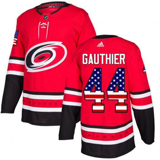 Julien Gauthier Carolina Hurricanes Men's Adidas Authentic Red USA Flag Fashion Jersey