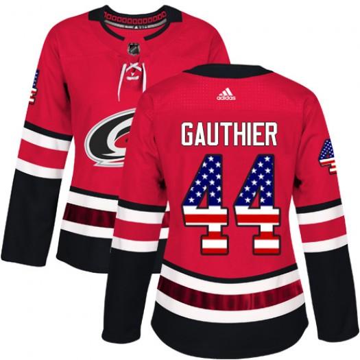 Julien Gauthier Carolina Hurricanes Women's Adidas Authentic Red USA Flag Fashion Jersey