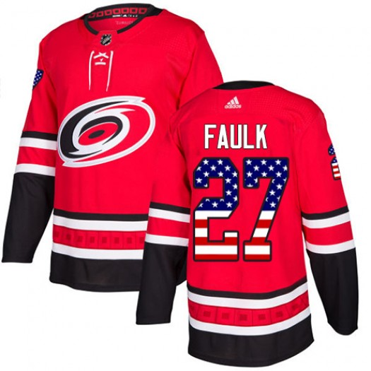 Justin Faulk Carolina Hurricanes Men's Adidas Authentic Red USA Flag Fashion Jersey