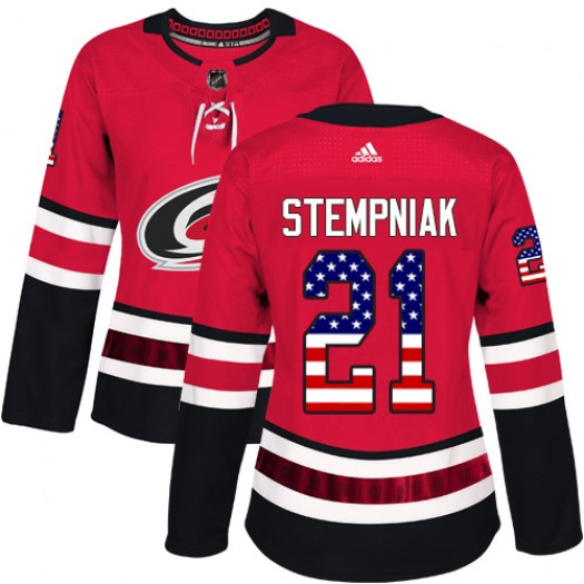 Lee Stempniak Carolina Hurricanes Women's Adidas Authentic Red USA Flag Fashion Jersey