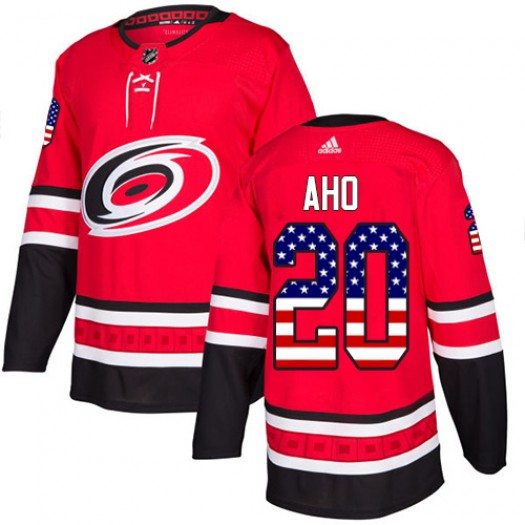 Sebastian Aho Carolina Hurricanes Men's Adidas Authentic Red USA Flag Fashion Jersey