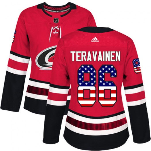 Teuvo Teravainen Carolina Hurricanes Women's Adidas Authentic Red USA Flag Fashion Jersey